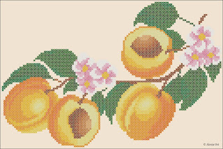 Free cross-stitch patterns, apricots, fruits and vegs, cross-stitch, back stitch, cross-stitch scheme, free pattern, x-stitchmagic.blogspot.it, вышивка крестиком, бесплатная схема, punto croce, schemi punto croce gratis, DMC, blocks, symbols