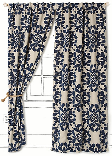 Kmart Curtains And Drapes Navy and White Patterned Tile