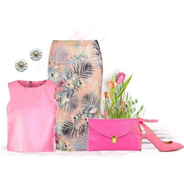Tropical pencil/midi skirt with pink. Visit www.forarealwoman.com