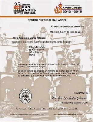 """""""Diploma Reconocimiento Centro Cultural San Ángel"""""""
