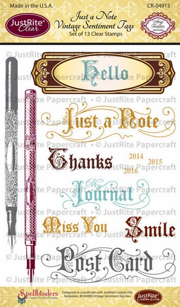 Just a note vintage sentiments tag clear sts - justrite papercraft