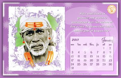 Shirdi Sai Baba Theme 2011 Calendar For Download