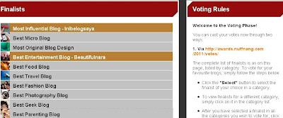 NUFFNANG ASIA PACIFIC BLOG AWARD 2011 - SUDAHKAH ANDA VOTE??