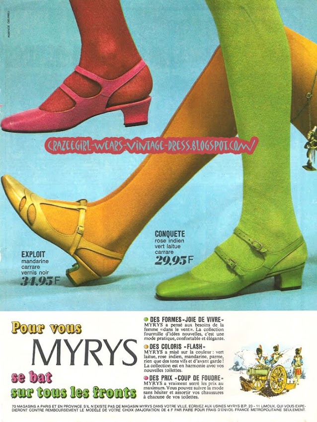Myrys shoes - 1967 60s 1960 mod pink green yellow bright