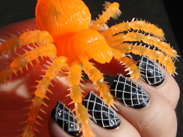 nails nailart nail art polish mani manicure Spellbound thread black white spider web spiderweb Halloween Nail-Aween Challenge