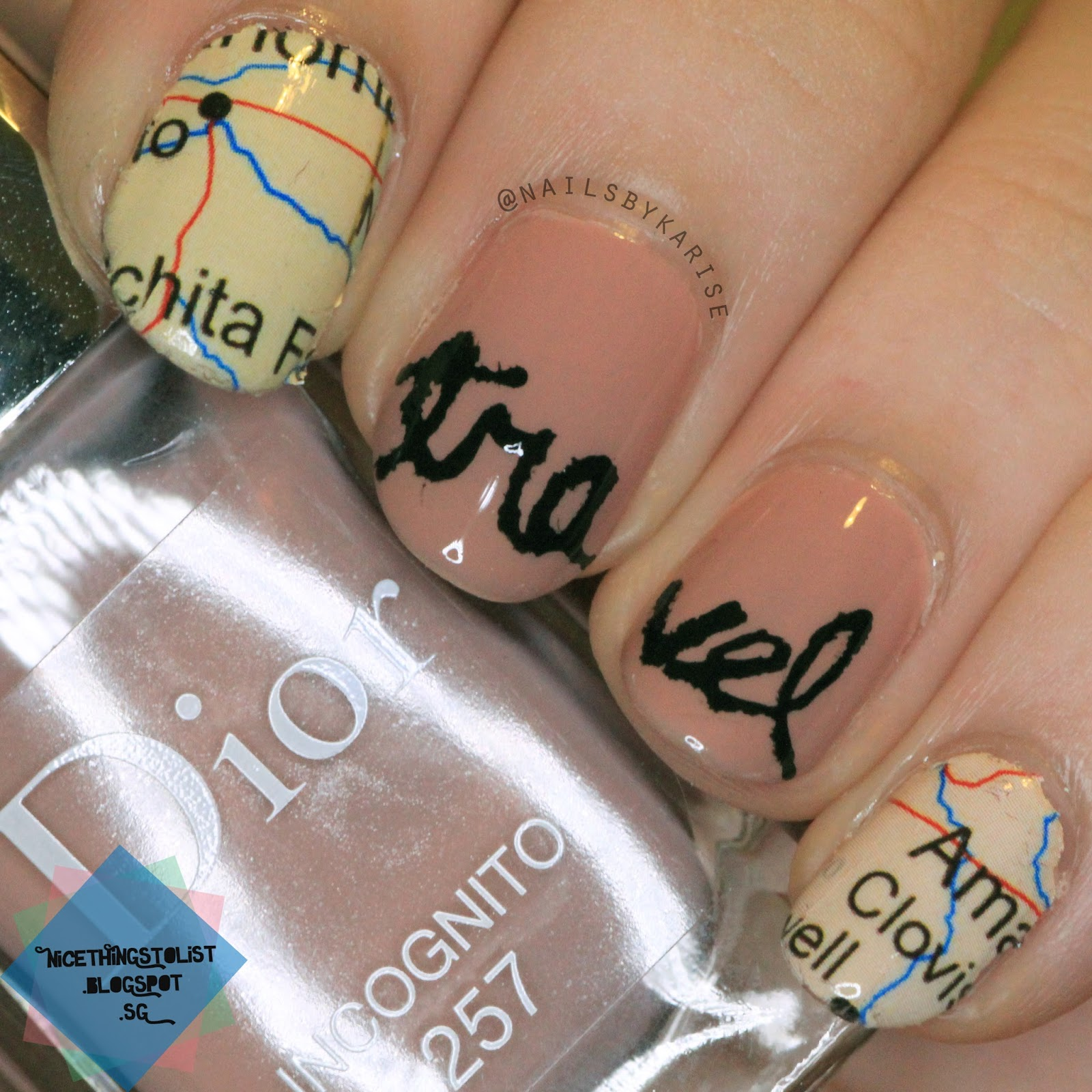 Travel nail art with road map decal nice things to list travel nail art with road map decal prinsesfo Images
