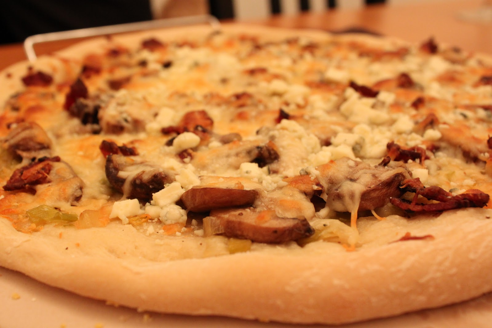 Tartan & Sequins: Recipe: Leek, Mushroom and Bacon Pizza