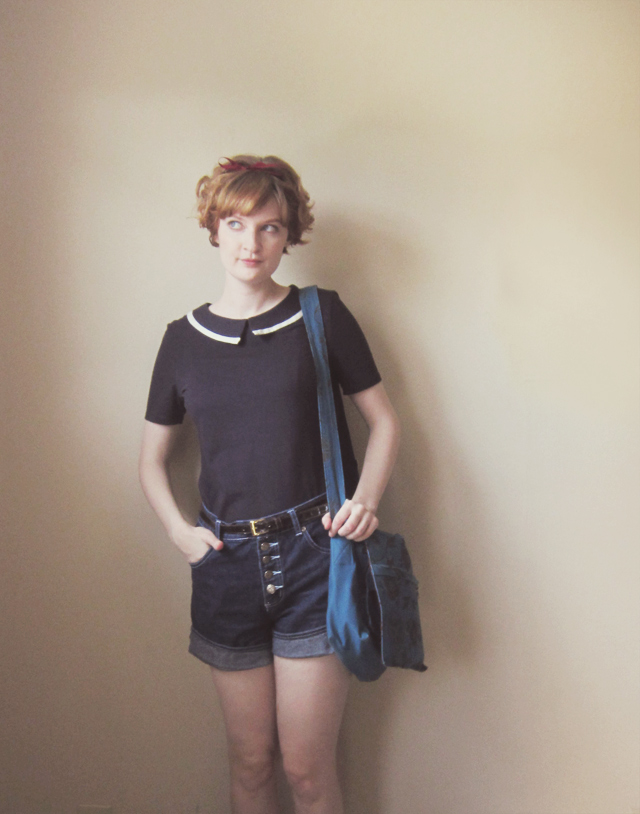 Thrifted denim shorts, People Tree sailor top, #fairtradefashion