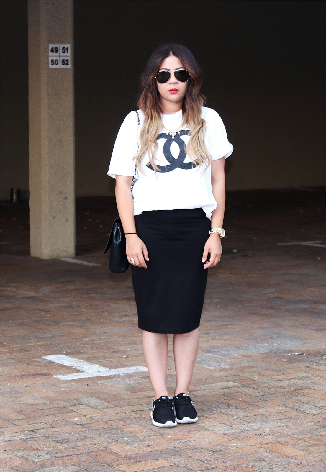 nike roshe run ootd, midi skirt and sneakers, chanel t shirt, mac lady danger, cape town fashion blogger