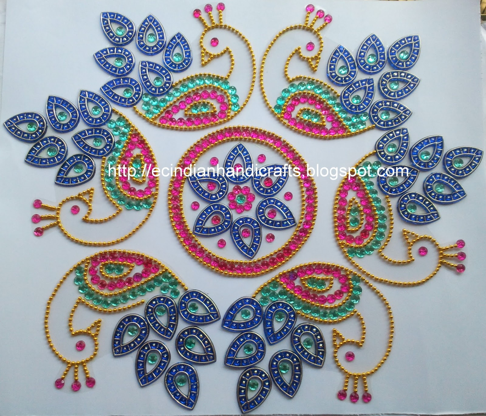 Ec Indian Handicrafts 39 Marapachi Rubber Doll Decorations Peacock Design Kundan Rangoli