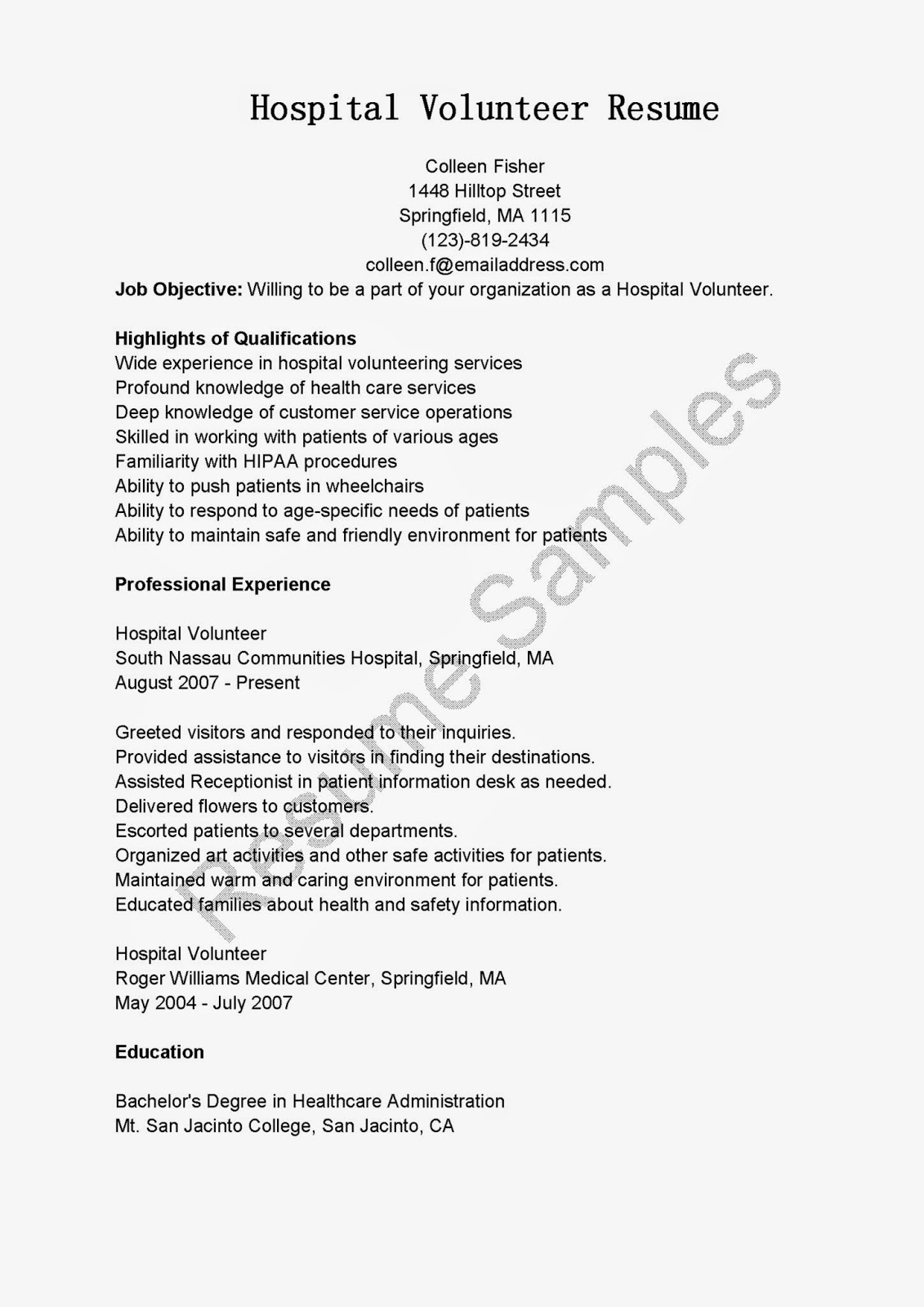 Resume Samples Hospital Volunteer Resume Sample