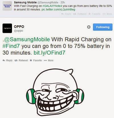 Oppo chê tính năng sạc nhanh trên Galaxy Note 4