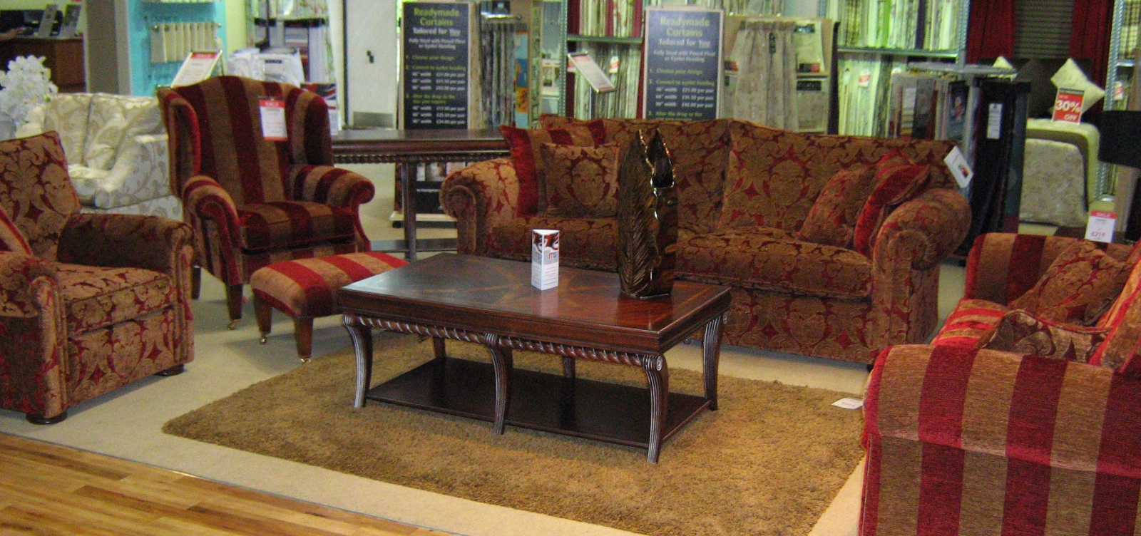 The Waldorf 2½ Seater Sofa And Somerset Wing Chair Are Finished In A  Wonderfully Opulent Red And Gold Striped Fabric And Comes With A Matching  Footstool On ...