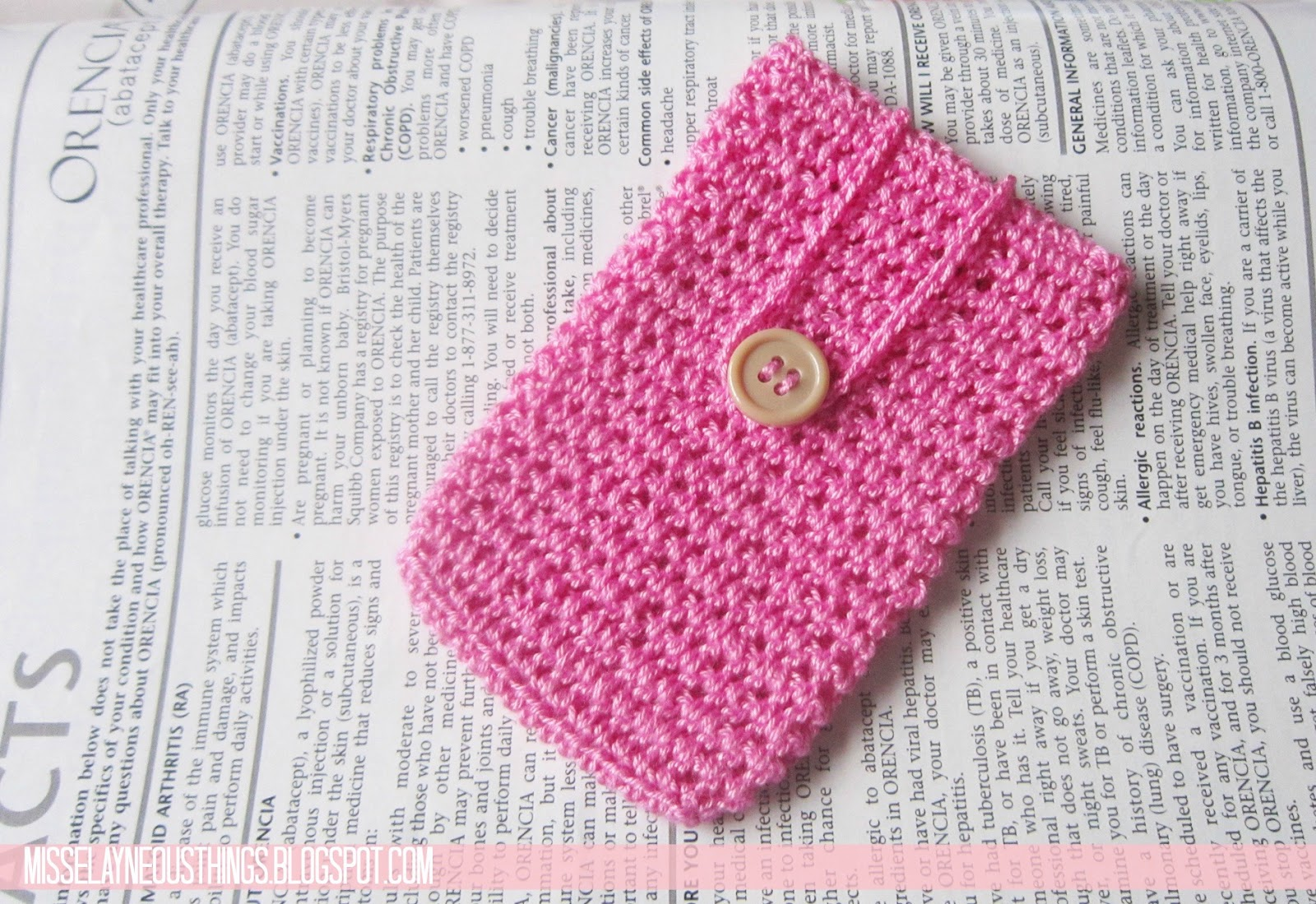 A Pink Crochet Cellphone Case A Blog About Misselayneous Things