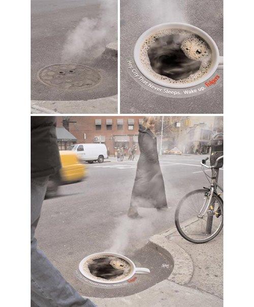 Folgers coffee - Iklan stiker kreatif