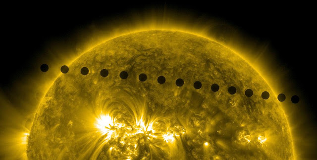 Composite of images of the Venus transit taken by NASA's Solar Dynamics Observatory on June 5, 2012. The image, taken in 171 angstroms, shows a timelapse of Venus's path across the sun in 2012. Credits: NASA/Goddard/SDO