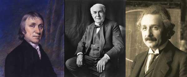 Tres cientificos famosos: Priestley, Edison, Einstein.