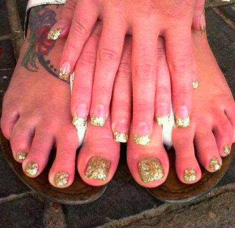 Custom glitz acrylic tips; the Big Gold as Glam-rock are super bright and very pretty nail art
