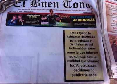Diario El Buen Tono publica portada en blanco