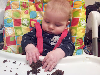 half birthday, weaning, cake crumbs
