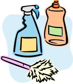 plumeau et produits d'entretien