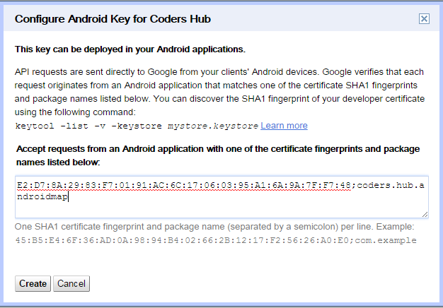 Add SHA1;projectpackagename to create android google map 2 key