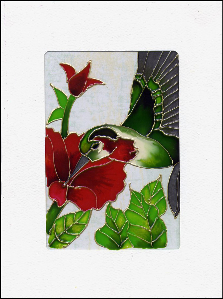 Magenta carte vitrail stained glass card for Miroir vitrail modeles