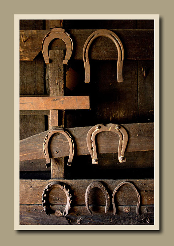 Horseshoes hanging on the wall in the blacksmith's shop at Black Creek Pioneer Village.  Holly Cawfield Photography
