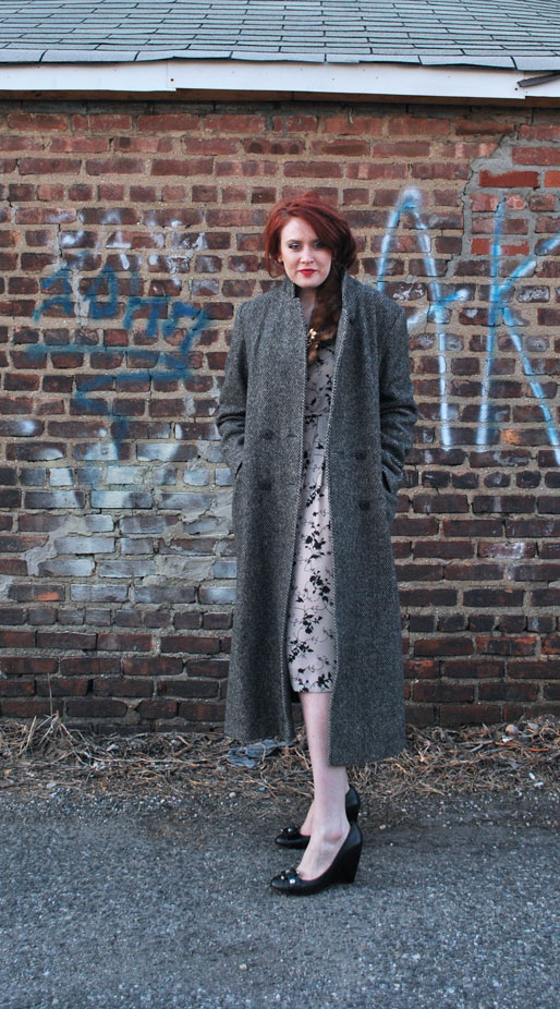 a style of your own blog, mollie booth parks, tweed overcoat, printed dress, nine west wedges, fashion blogger, outfit post, red hair updo, gold  brooch, fur stole, fur collar