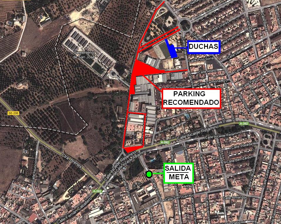 Croquis Ubicación Salida-Meta + Duchas + Parking