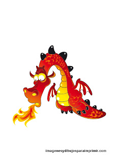 dragon with tongue of flame to print