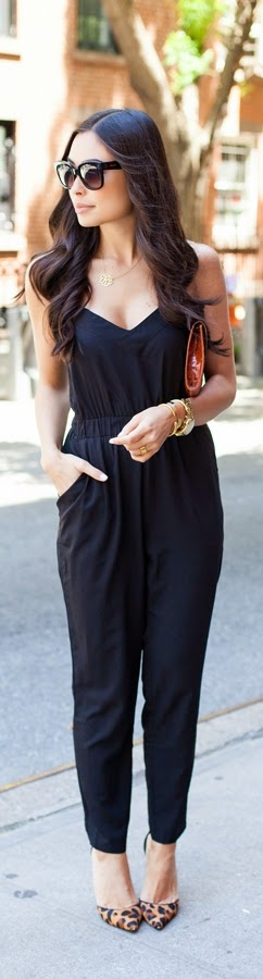 Black Classic Jumpsuit with Lepord Shoes | Spring Outfits