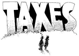 cartoon of two tiny people standing in front of the giant word TAX