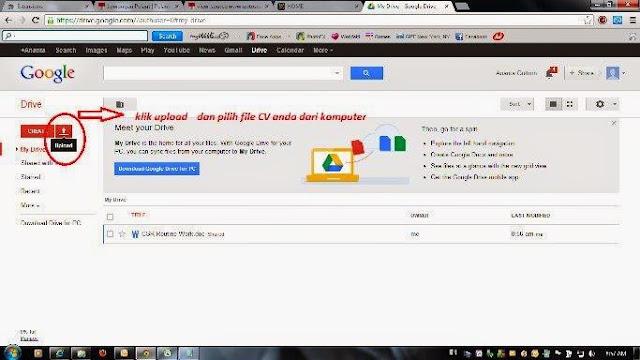 cara upload cv dan share link nya dengan menggunakan