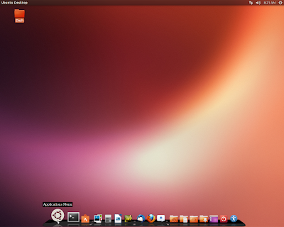 Ubuntu launcher on bottom. Dock like launcher on bottom