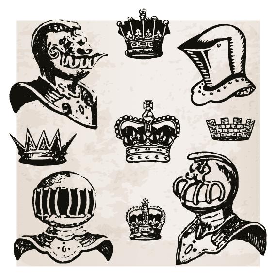 Yelmos y coronas medievales - Vector
