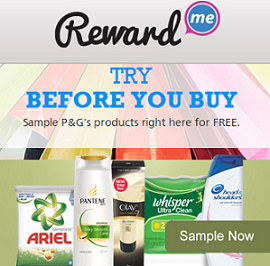 Get Free Sample of Pantene Shampoo, Olay, Ariel , Pamper, Whisper and Head & Shoulder – Rewardme.in