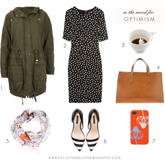 style and fashion looks outfit for chic rainy spring, leather tote, cotton parka, polka dot dress, dolce and gabbana, zara heel, iphone case, vermillion, tom binns scarf