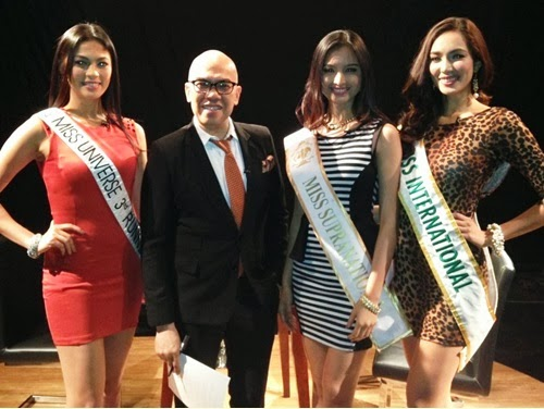 Boy Abunda with beauty queens Ariella Arida, Bea Santiago and Mutya Datul