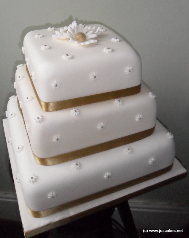 Jo\'s Cakes: 3 Tier Square Gold Daisies Wedding Cake