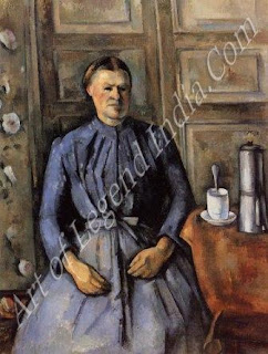 Woman with a Coffee Pot (1890-94) Cezanne treats this portrait in the same way as a still-life. The woman his housekeeper is as angular and impersonal as the cup beside her, with its unnaturally upright spoon. He once wrote that 'Painting stands for no other end than itself. The artist paints an apple or a head: it is simply a pretext for line and colour, nothing more'.
