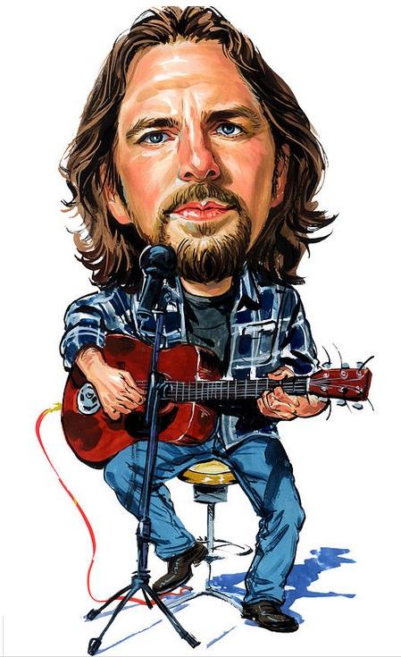 Eddie Vedder sentado em uma banqueta tocando Guitarra