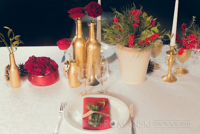 Zimowe dekoracje stołów weselnych.