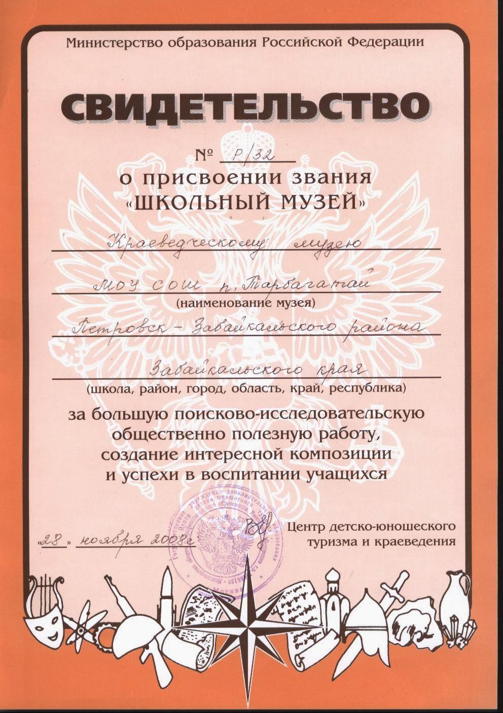 В 2008 г. музею присвоено звание «Школьный музей»