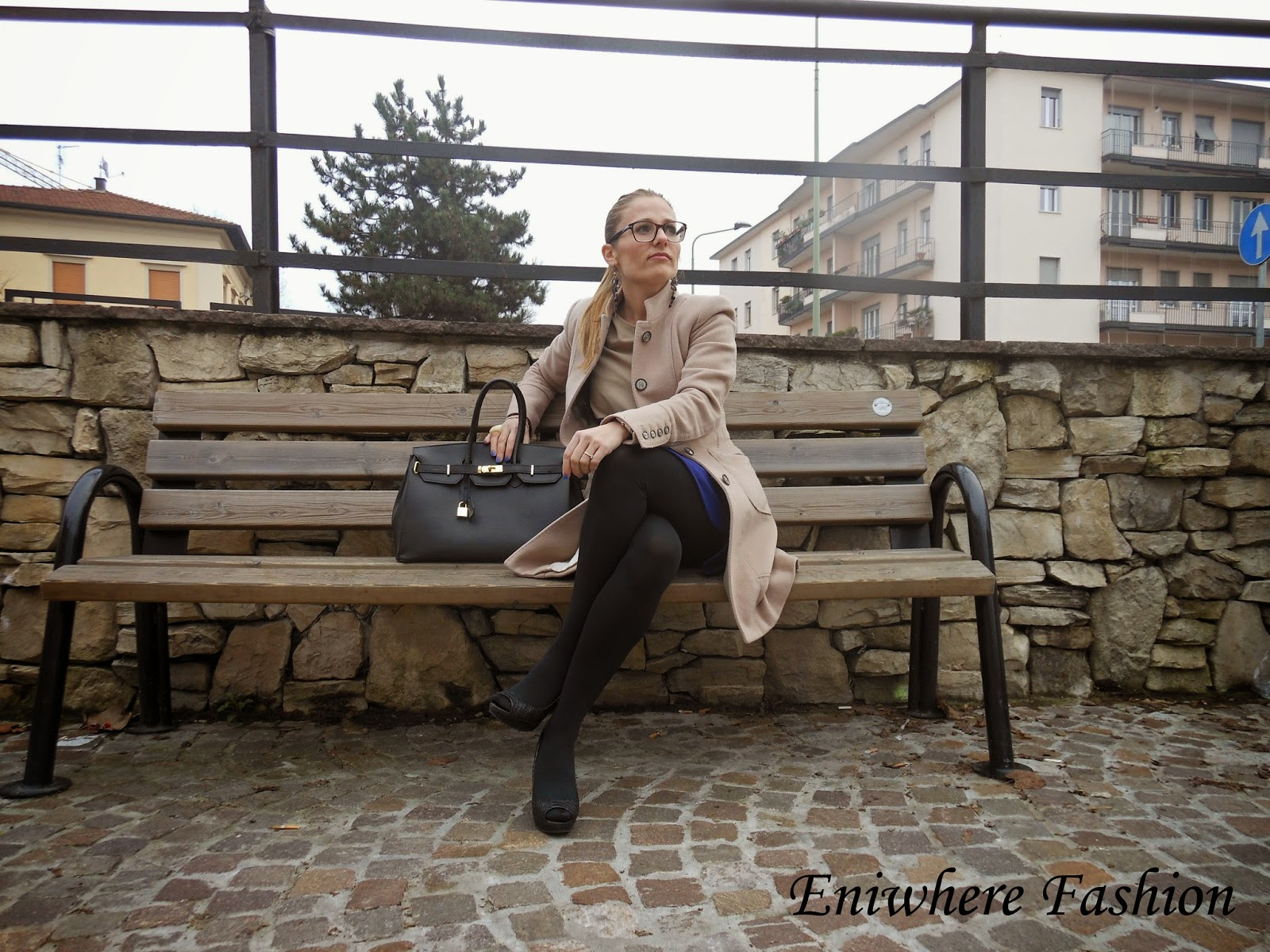 Eniwhere Fashion cappotto beige vestito blu-beige-nero