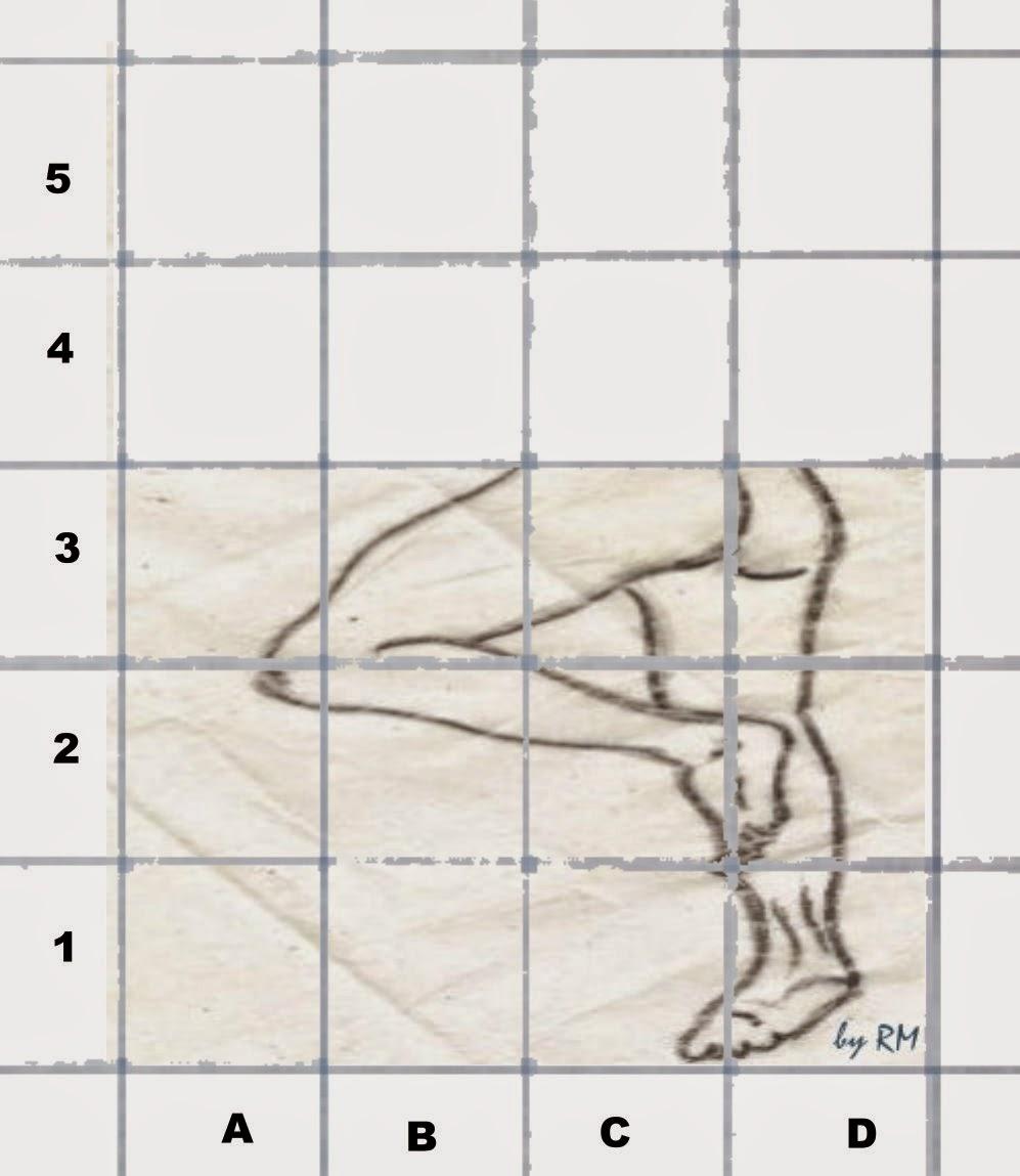 Continuação da transferência de cada quadradinho da malha quadriculada pequena para a grande
