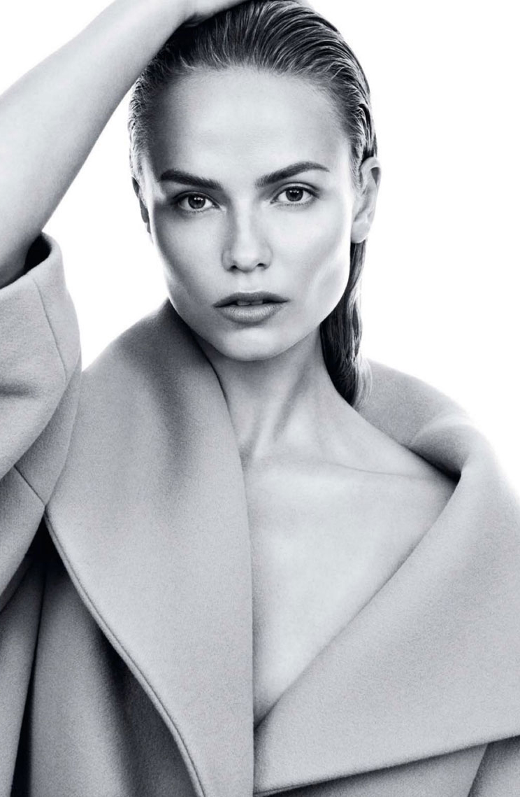 grey outfit inspiration / grey coats / Natasha Poly in Harper's Bazaar US September 2014 (photography: Daniel Jackson, styling: Clare Richardson) / via fashioned by love / british fashion blog