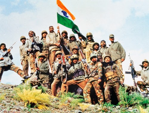 Kargil War - Solders with Indian Flag in Tiger Hill