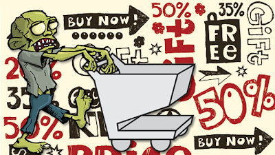 green cartoon zombie pushing shopping cart