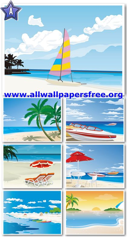 20 Amazing Beach Vector Illustrations Wallpapers 1280 X 1024